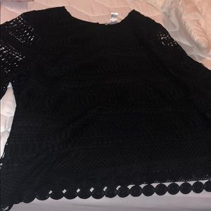 K Jordan Embroidered lace bell sleeve blouse